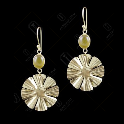 Gold Plated Chalcedony Stone Floral Hanging Casual Wear Earrings
