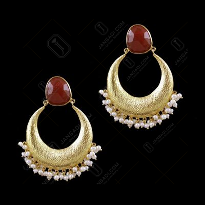 Gold Plated Pearl And Onyx Stone Chandbali Party Wear Earrings