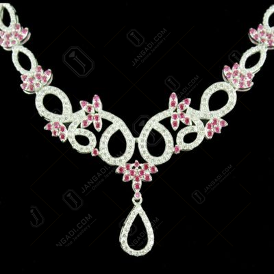 Zircon Stone Floral Design Party Wear Necklace