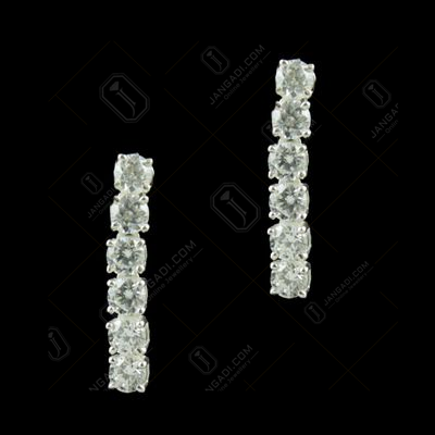 White CZ Stone Silver Party Wear Earrings