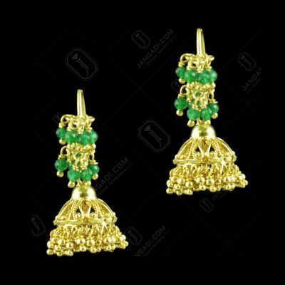 Gold Plated Hanging Jhumka Earring With Red Onyx Beads
