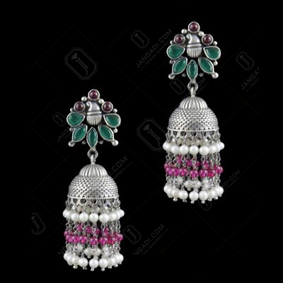Oxidized Silver Jhumka With  Red Onyx  Green Hydro And Pearl Bea