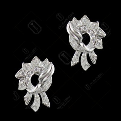 Sterling Silver CZ Stones Floral Party Wear Earrings