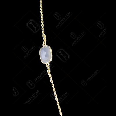 Silver Long Chain Studded Onyx And Chalcedony Stones