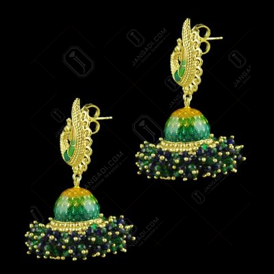 Gold Plated Peacock Jhumka With Blue And Jade Beads