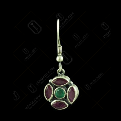 Oxidized Silver Floral Hanging Earring With Red Corundum And Green Hydro Stones