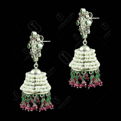 Oxidized Silver Lakshmi Coin Red Onyx With  Green Hydro Stone With Pearl
