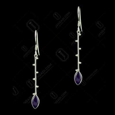 OXIDIZED SILVER HANGING EARRINGS STUDDED ONYX STONES