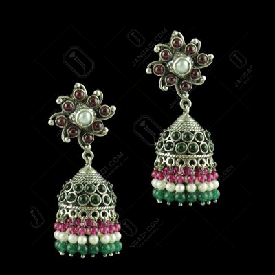 OXIDIZED SILVER JHUMKAS STUDDED RED CORUNDUM GREEN ONYX STONES AND PEARL JADE BEADS
