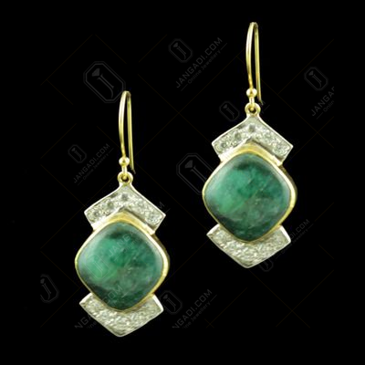 GOLD PLATED CZ AND ONYX STONE EARRINGS