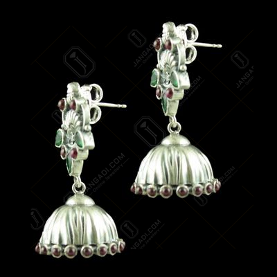 OXIDIZED SILVER JHUMKAS STUDDED RED CORUNDUM AND GREEN HYDRO STO
