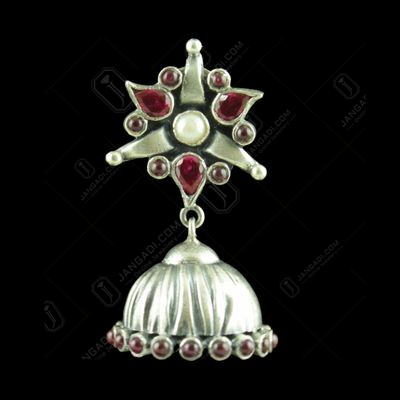 OXIDIZED SILVER JHUMKAS STUDDED PEARL AND RED CORUNDUM STONES