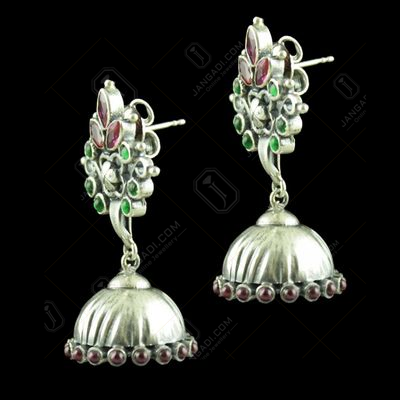 OXIDIZED SILVER JHUMKAS STUDDED RED CORUNDUM AND GREEN HYDRO STONES