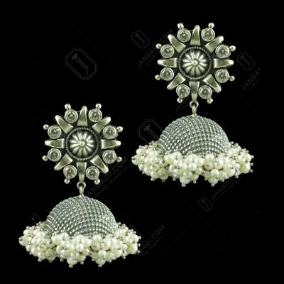 OXIDIZED SILVER JHUMKAS STUDDED CZ STONES AND PEARL