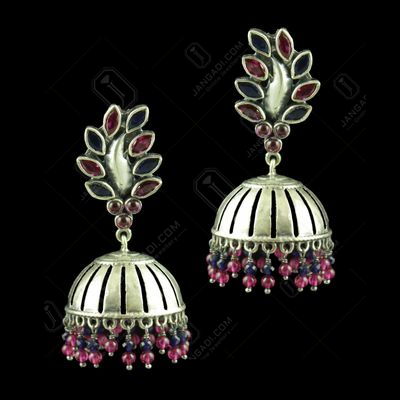 OXIDIZED SILVER JHUMKAS STUDDED BLUE SAPPHIRE AND RED CORUNDUM STONES