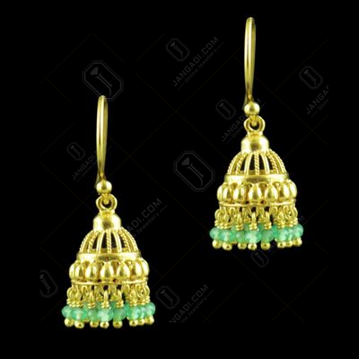 GOLD PLATED HANGING JHUMKAS EARRINGS WITH JADE BEADS