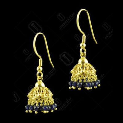 GOLD PLATED HANGING JHUMKA EARRINGS WITH BLUE SAPPHIRE BEADS