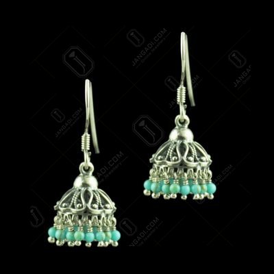 OXIDIZED SILVER TORQUISE STONE JHUMKA EARRINGS