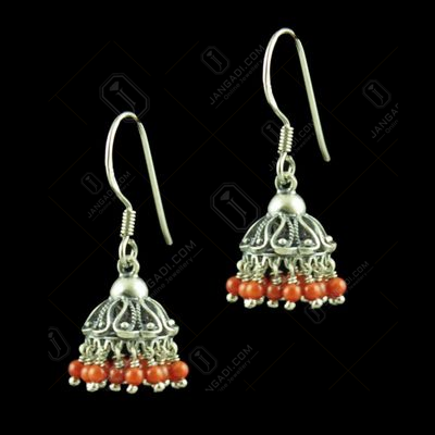OXIDIZED SILVER CORAL STONE JHUMKA EARRINGS