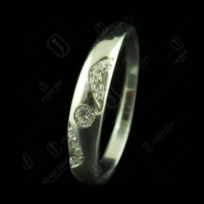 R20434 Sterling Silver Wedding Band Ring Studded Zircon Stones