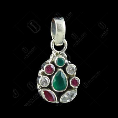 Silver Floral Design Oxidized Pendant  Semiprecious Stones