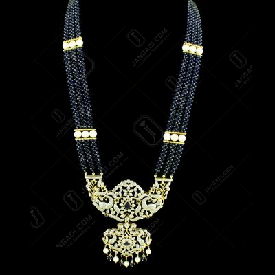 GOLD PLATED CZ STONE PEACOCK NECKLACE WITH BLUE SAPPHIRE AND PEARLS