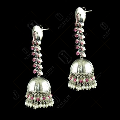 OXIDIZED RED CORUNDUM JHUMKA WITH PEARLS