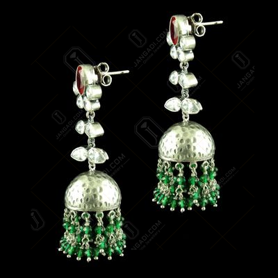 OXIDIZED JHUMKA EARRINGS WITH RED RUBY EMERALD AND CZ STONES