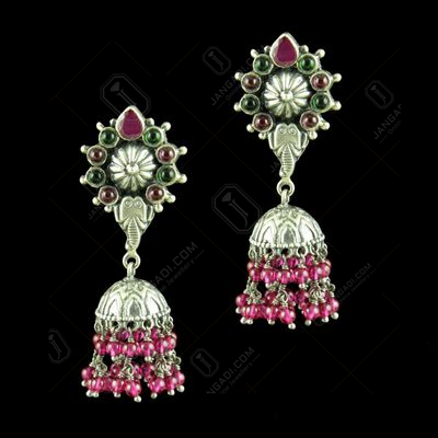 OXIDIZED SILVER JHUMKAS STUDDED RED CORUNDUM AND GREEN HYDRO