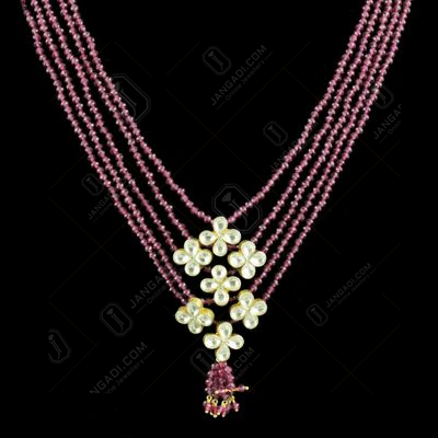 GOLD PLATED KUNDAN STONE RUBY BEADS NECKLACE