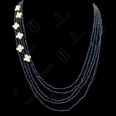 GOLD PLATED KUNDAN AND SAPPHIRE BEADS NECKLACE