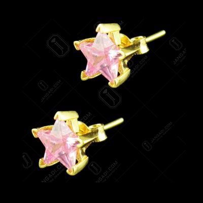 GOLD PLATED PINK STAR CZ EARRINGS