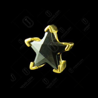 GOLD PLATED BLACK STAR CZ EARRINGS