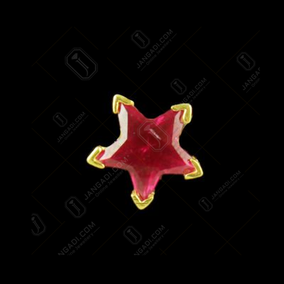 GOLD PLATED RED STAR CZ EARRINGS