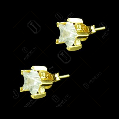 GOLD PLATED GREEN STAR CZ STONE EARRINGS