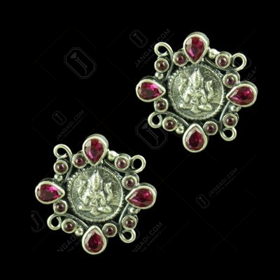 OXIDIZED SILVER RED CORUNDUM LAKSHMI EARRINGS