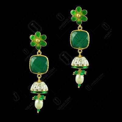 Gold Plated Enamel Jhumka Studded Semi Precious Stones