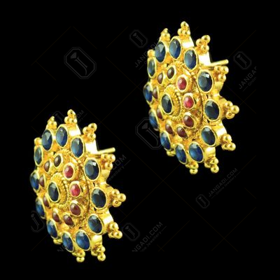 GOLD PLATED FLORAL EARRINGS WITH RUBY AND BLUE SAPPHIRE