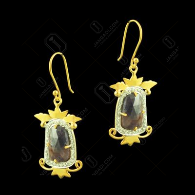GOLD PLATED EARRINGS WITH MOSSAGATE AND CZ STONES