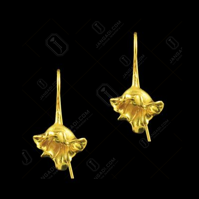 GOLD PLATED FLORAL HANGING EARRINGS