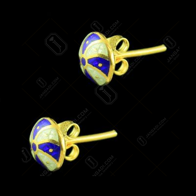Gold Plated Floral Design Earring And Enemal