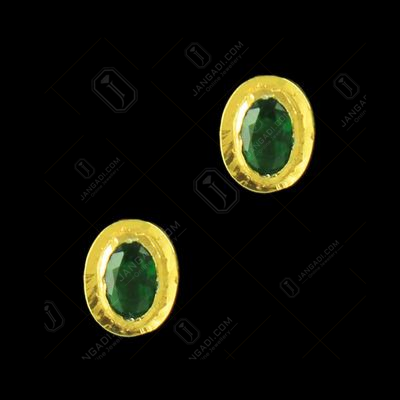Silver Gold Plated Earring Oval Polki