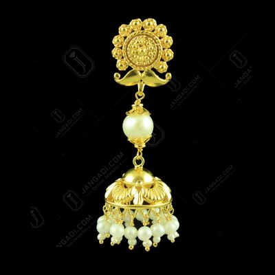 Gold Plated Jhumka With Beads Stones