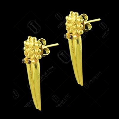 GOLD PLATED RED CORUNDUM EARRINGS