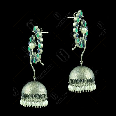 Silver Plated Fancy Design Earrings Red Pearl 4.5 Rice Pearl Small