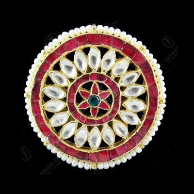 GOLD PLATED KUNDAN STONES EARRINGS WITH PEARLS