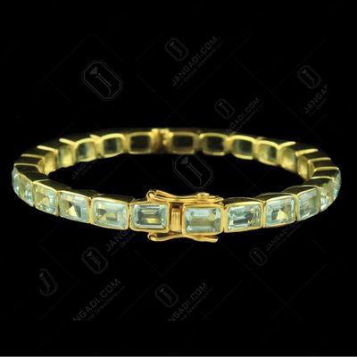 GOLD PLATED AQUAMARINE LOCK BANGLE