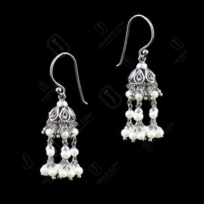 Oxidized Silver Hanging Jhumka Earrings With Red Corundum Stone And Onyx Beads