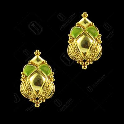 GOLD PLATED FLORAL EARRINGS WITH ENAMEL