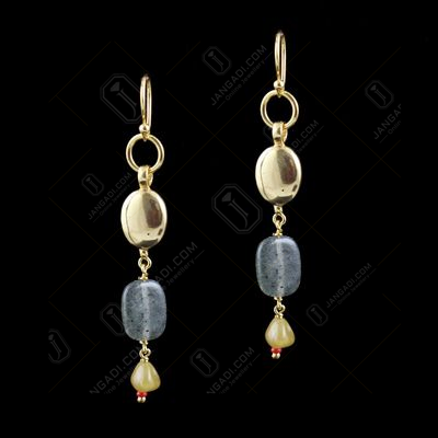 GOLD PLATED HANGING EARRINGS WITH CZ AND QUARTZ BEADS